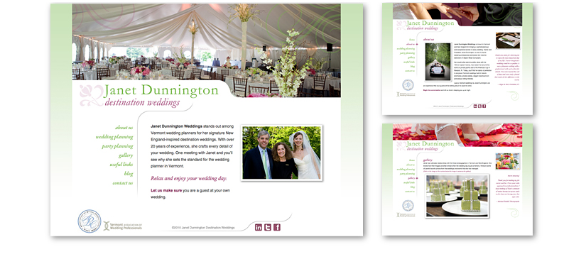 Janet Dunnington weddings website
